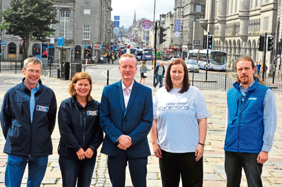 From left, Adrian Rowett and Fiona Pirie of the Street Pastors charity with Adrian Watson of Aberdeen Inspired and Kate Loades and Alex Scott of Cyrenians