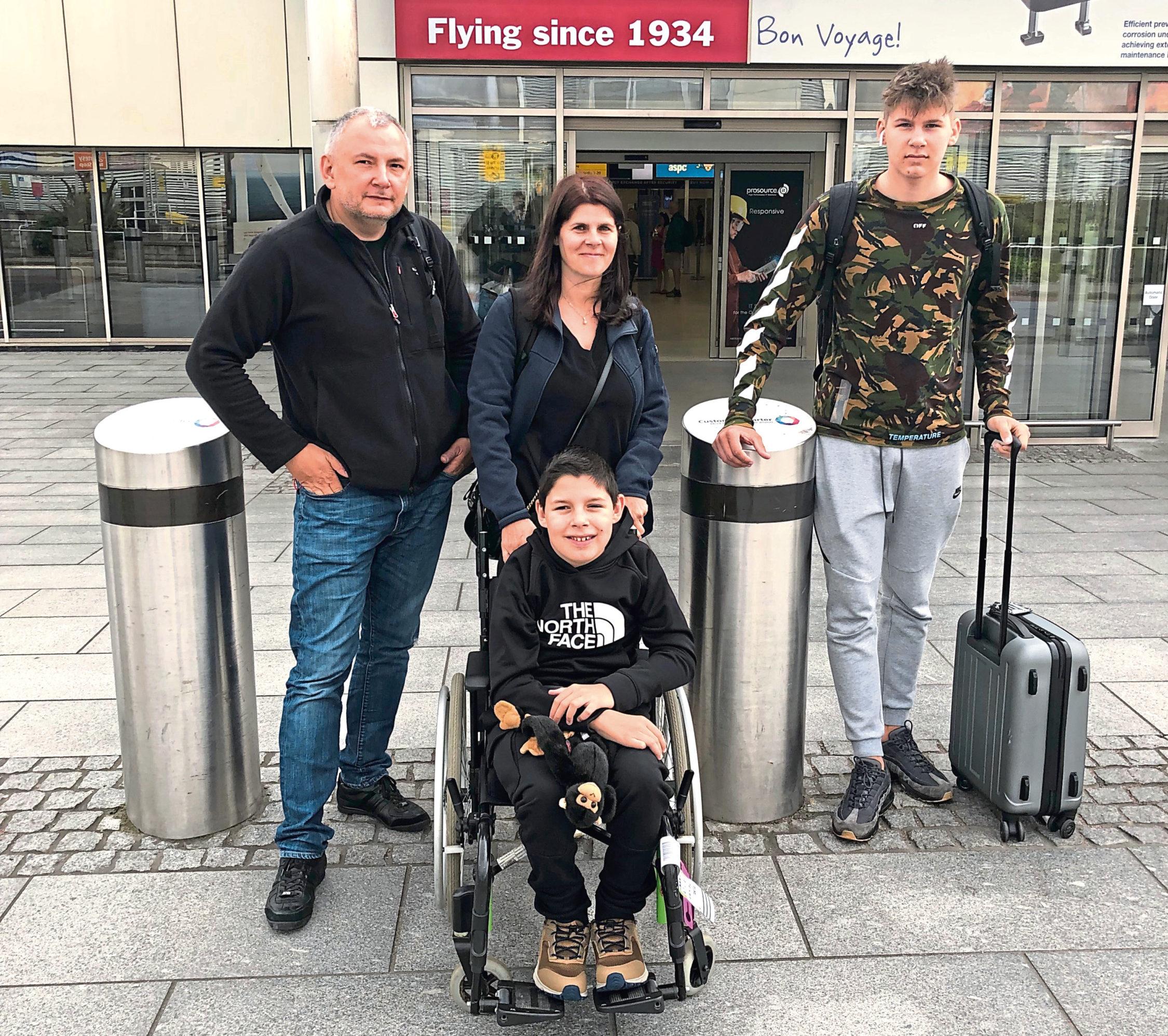 Dad Matty, mum Elena, Luca and brother Matty on their way
