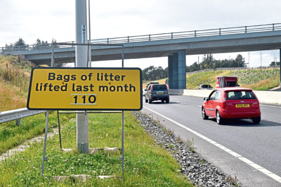 Workers picked up 110 bags of litter on the Aberdeen Bypass in July
