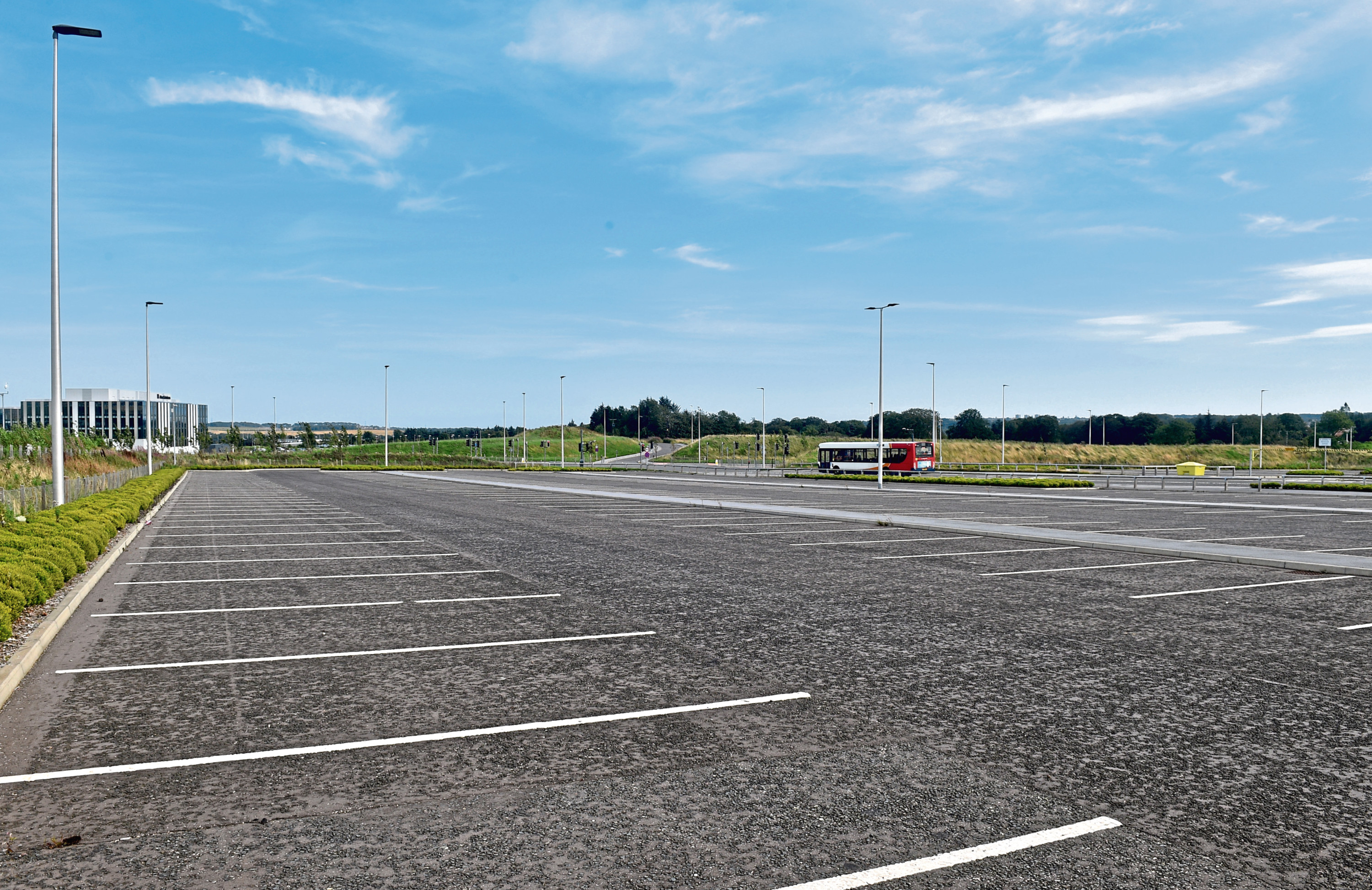 Empty spaces at the Craibstone park and ride facility