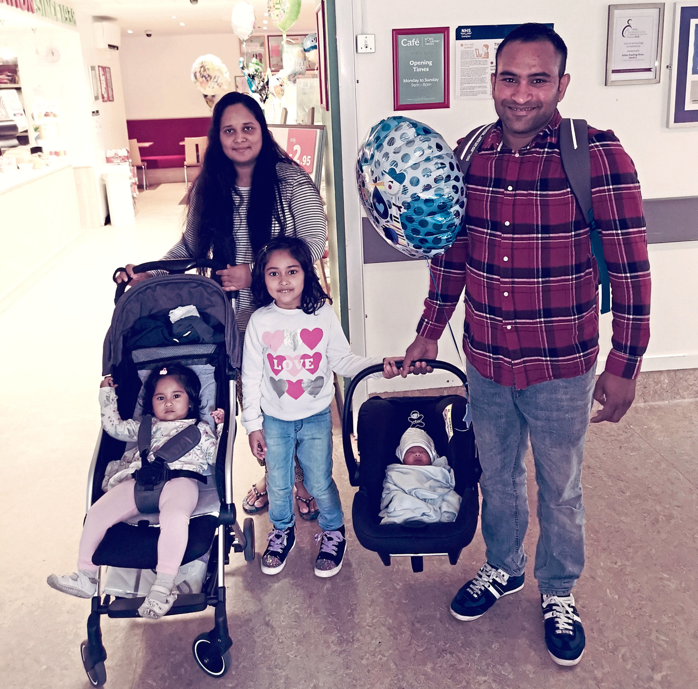 Business owner Nafiz Hasan with his family.