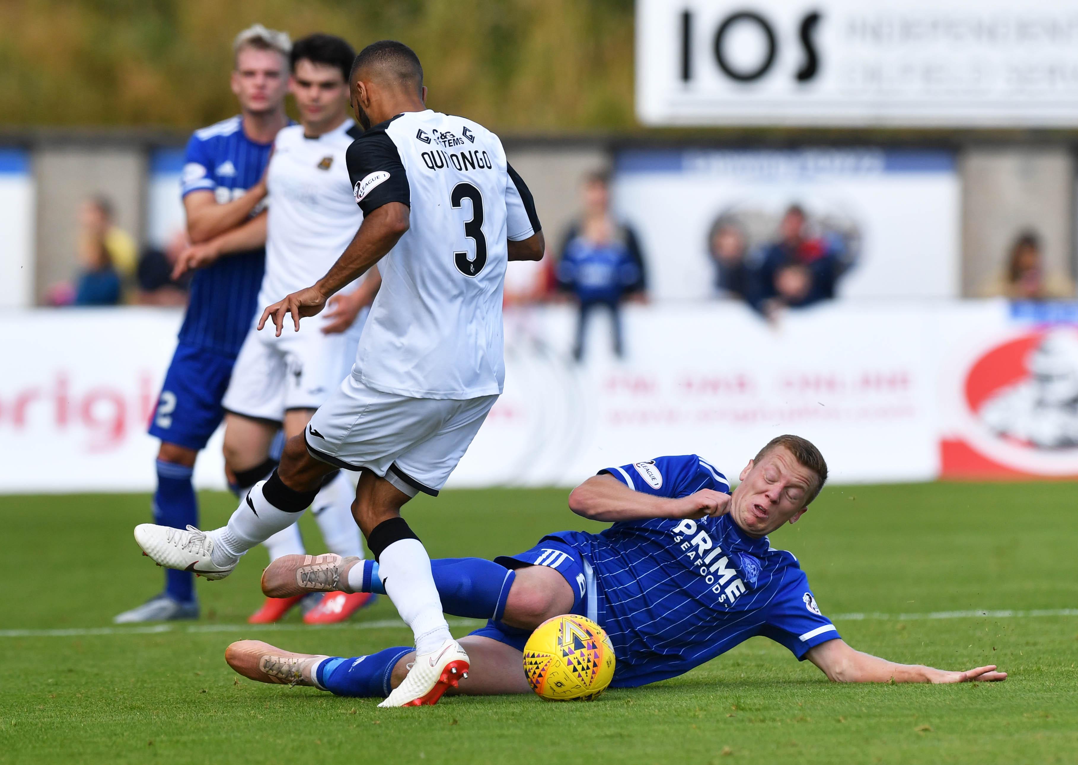 Scott Brown in action against Dumbarton.