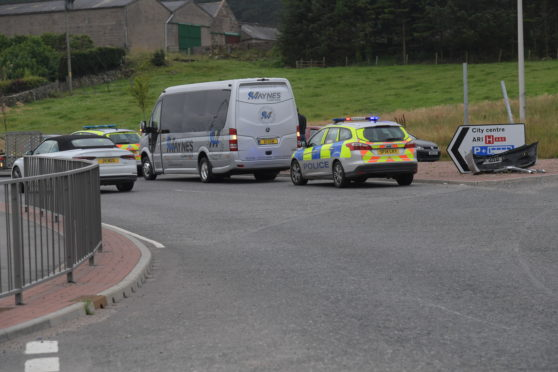 The crash at Kingswells roundabout this morning