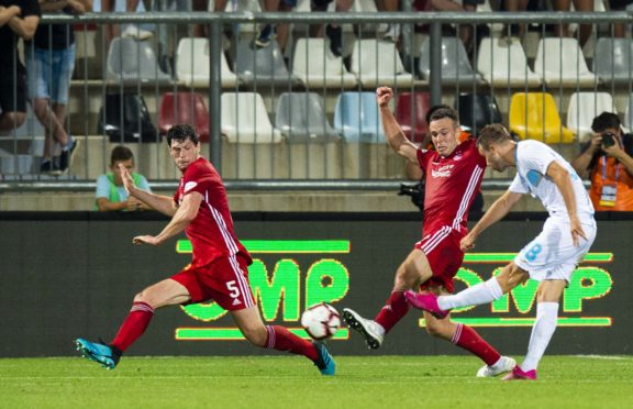 Rijeka's Tibor Halilovic scores against Aberdeen to make it 2-0