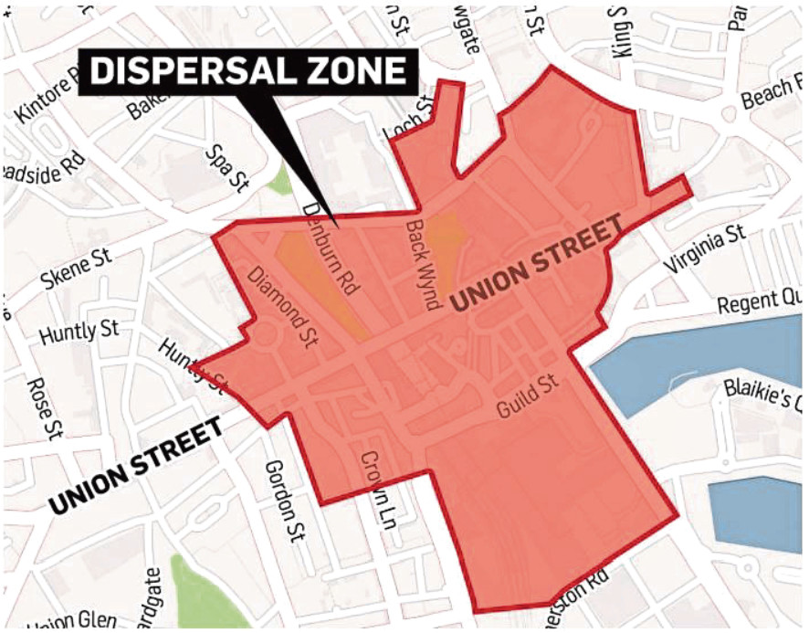The area covered by the dispersal zone