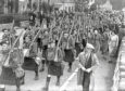 The 5th Gordons marching to Bucksburn station for the 2.50pm train on October 7 1939