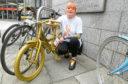 Milene Munro set up the gold bikes around the city to raise awareness of childhood cancer