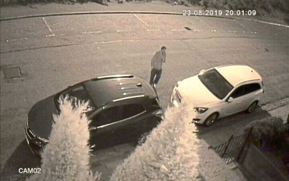 CCTV footage shows the thief outside the Elmbank Terrace home, which he then broke into