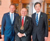 Lord Provost Barney Crockett with Jesper Frost Rassmussen, the Mayor Esbjerg and new member of the WCEP, Kizo Hisamoto, the Mayor of Kobe City in Japan