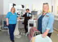 Advanced practitioner Michelle Cumming, consultant radiologist Doctor Gerald Lip and patient Sally Holland