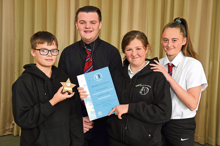 Zach Jamieson, 12, Andrew Robertson, 16, Catherine Murray, 12, Nicola McGregor, 15, from Dyce Primary and Academy