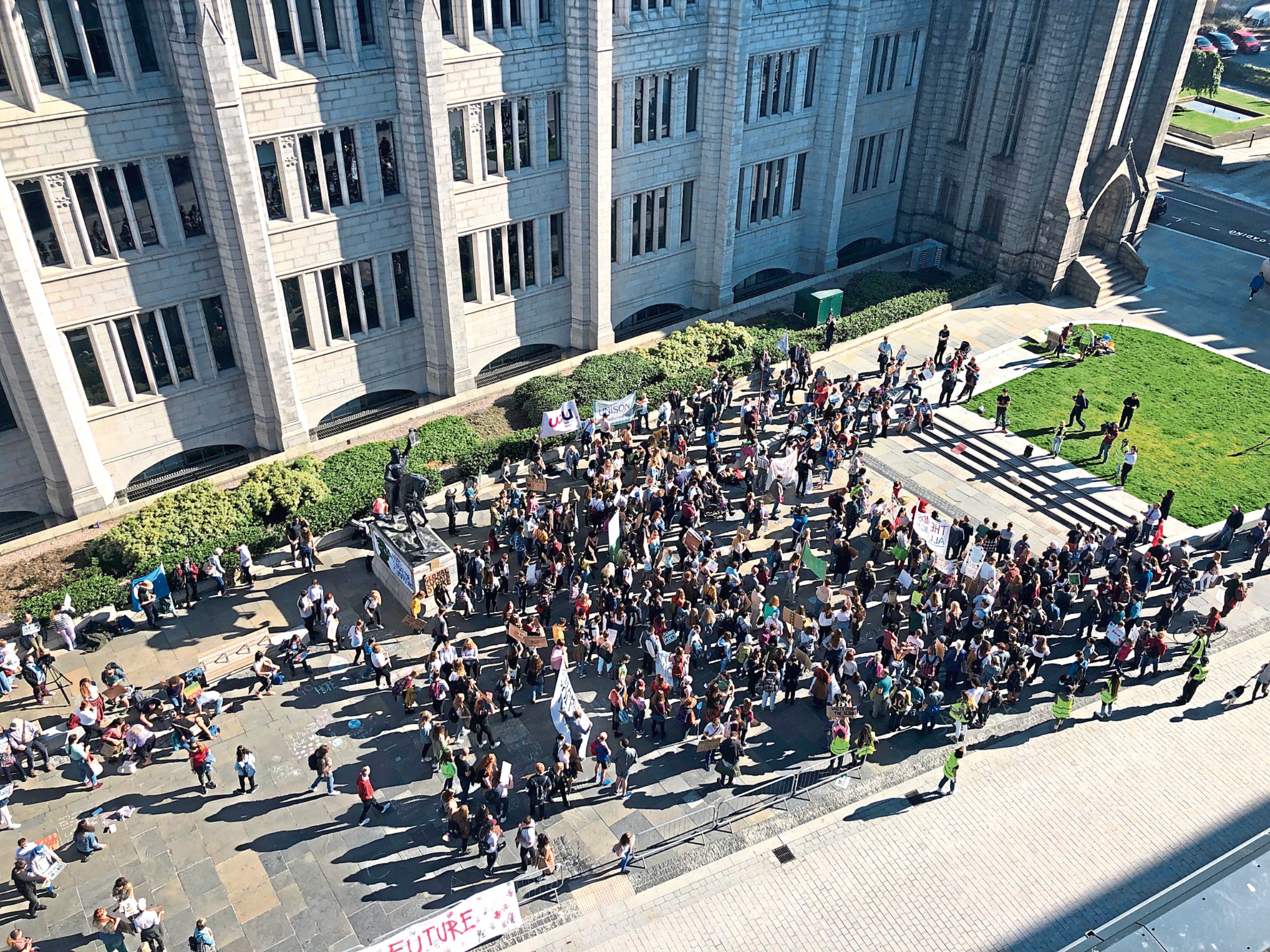 Crowds gathered outside Marischal College in Aberdeen.