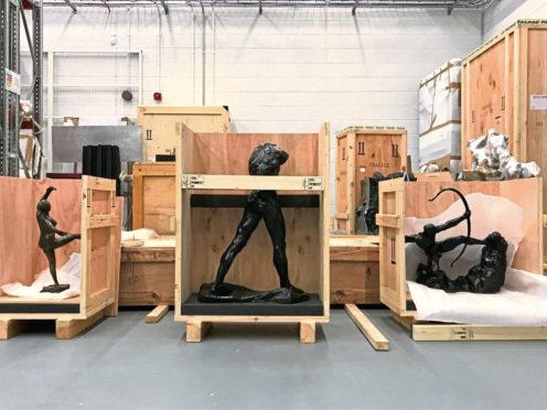 Sculptures being packed for Aberdeen Art Gallery