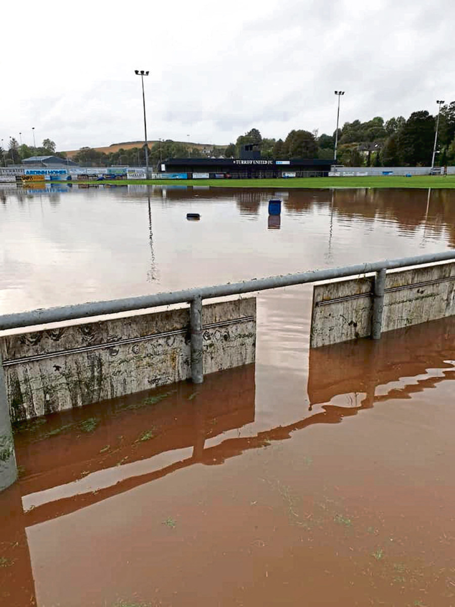 Flooding at Turriff United football pitch