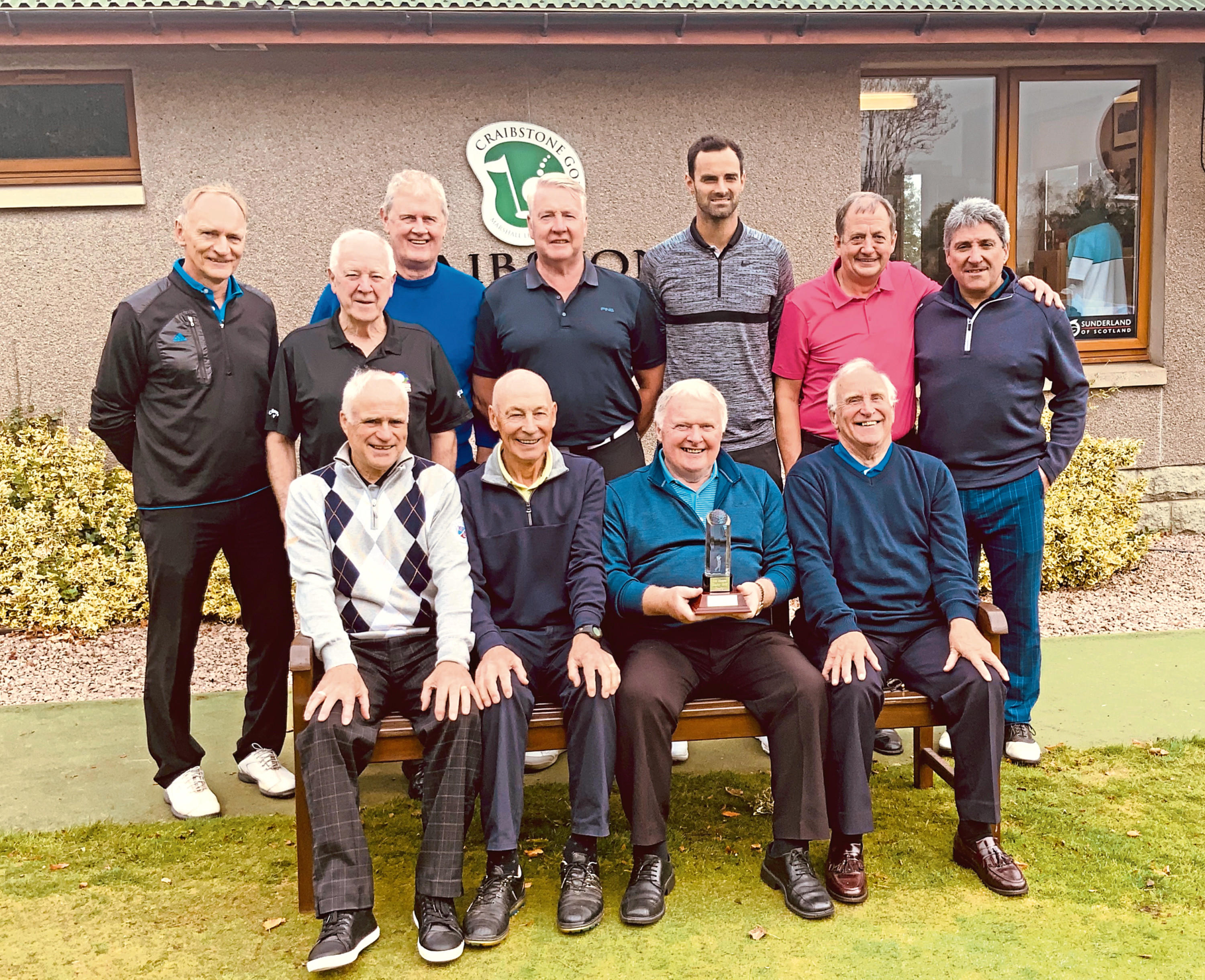 Dons legends, back row from left, Jim Leighton, Craig Brown, Walker McCall, Willie Garner, Joe Lewis, John Gardiner and Andy Dornan and, front from left, Ian Fleming, Drew Jarvie, Joe Harper and Ian Taylor