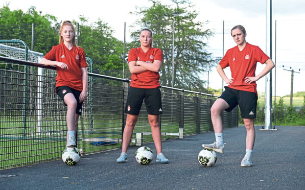 Pictured from left, Eilidh Shore, Francesca Ogilvie and Bayley Hutchison of Aberdeen Women