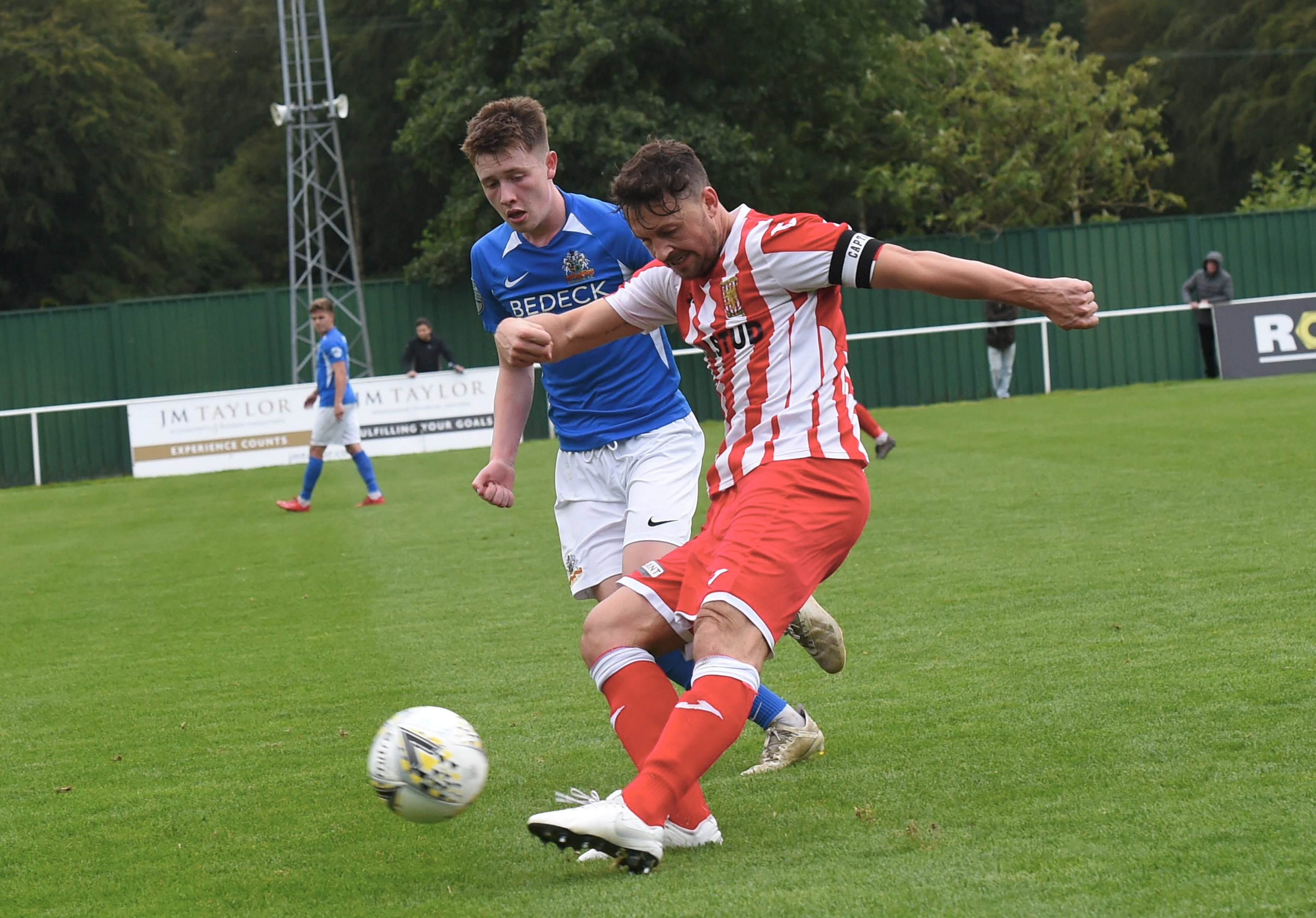 Formartine's Stuart Anderson and Glenavon's Jack O'Mahony. Picture by Heather Fowlie