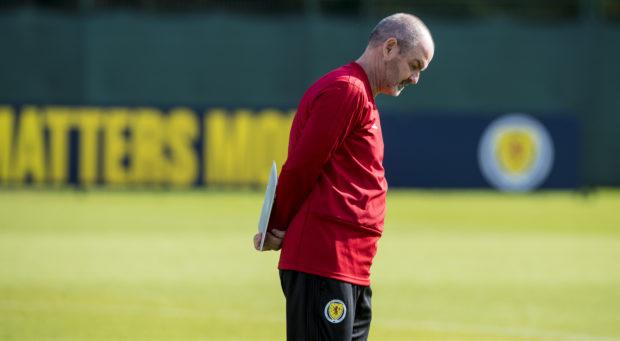 Manager Steve Clarke during a Scotland training session at Oriam, on September 8, 2019, in Edinburgh, Scotland