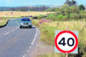The A947 road at the Swailend junction where a temporary new speed limit has been installed
