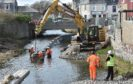 Work on part of Stonehaven's flood protection project has been stopped