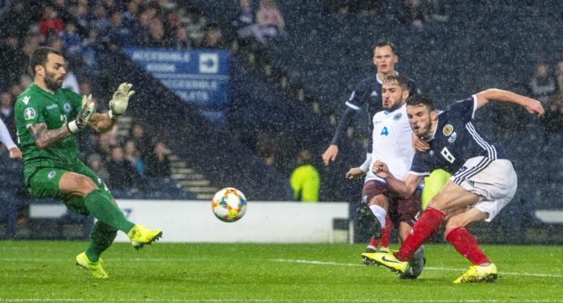 Scotland's John McGinn completes his hat-trick during the UEFA European qualifier between Scotland and San Marino.