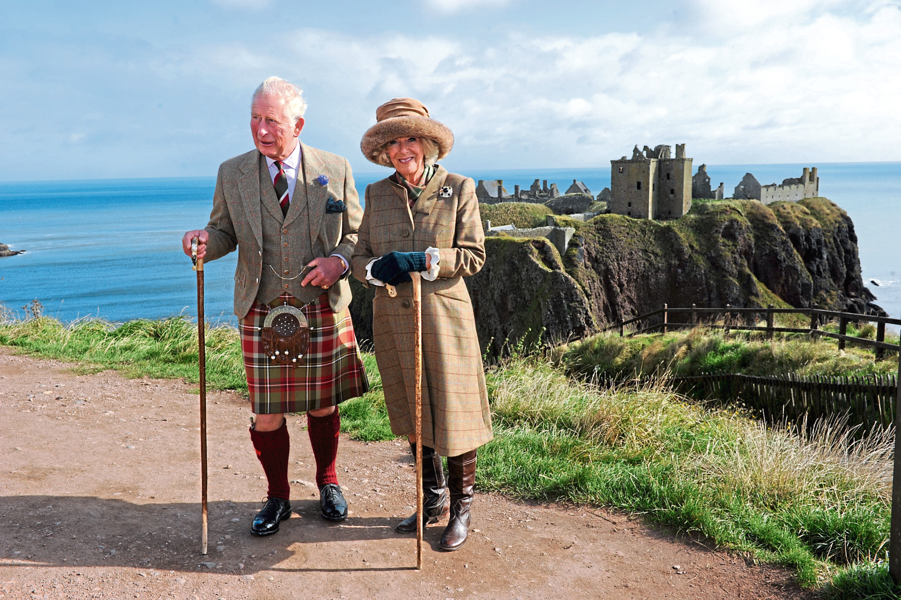 The Duke and Duchess at Dunnottar Castle. Pictures by Kenny Elrick