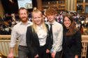From left, mentor Iain MacFadyen, pupil Kacey Rennie, pupil Leon Dewar and mentor Sandie Scott at the Career Ready launch event at the Beach Ballroom