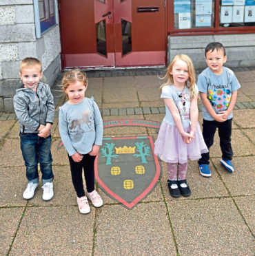 Nursery pupils at Kingswells Primary School who are saving tokens for the Evening Express Pounds for Primaries competition