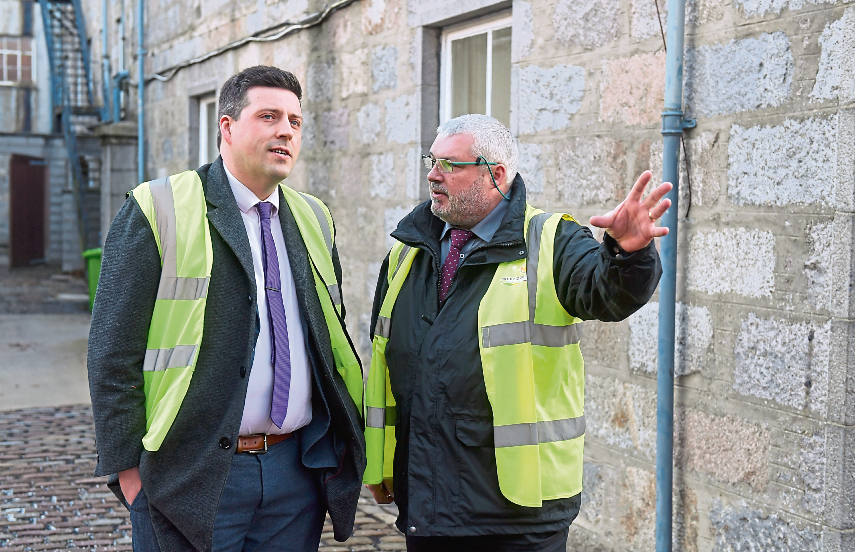 Government Minister Jamie Hepburn and Angus MacSween at  Stoneywood Mill