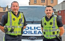 Retiring Moray Sergeant Ally Bruce with his son PC Harry Bruce