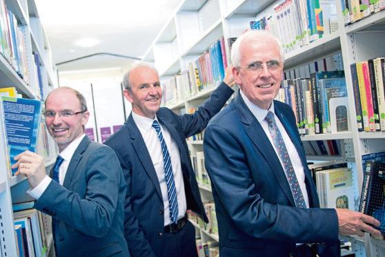 Chris Moule, Professor John Harper, Aberdeenshire Council leader Jim Gifford