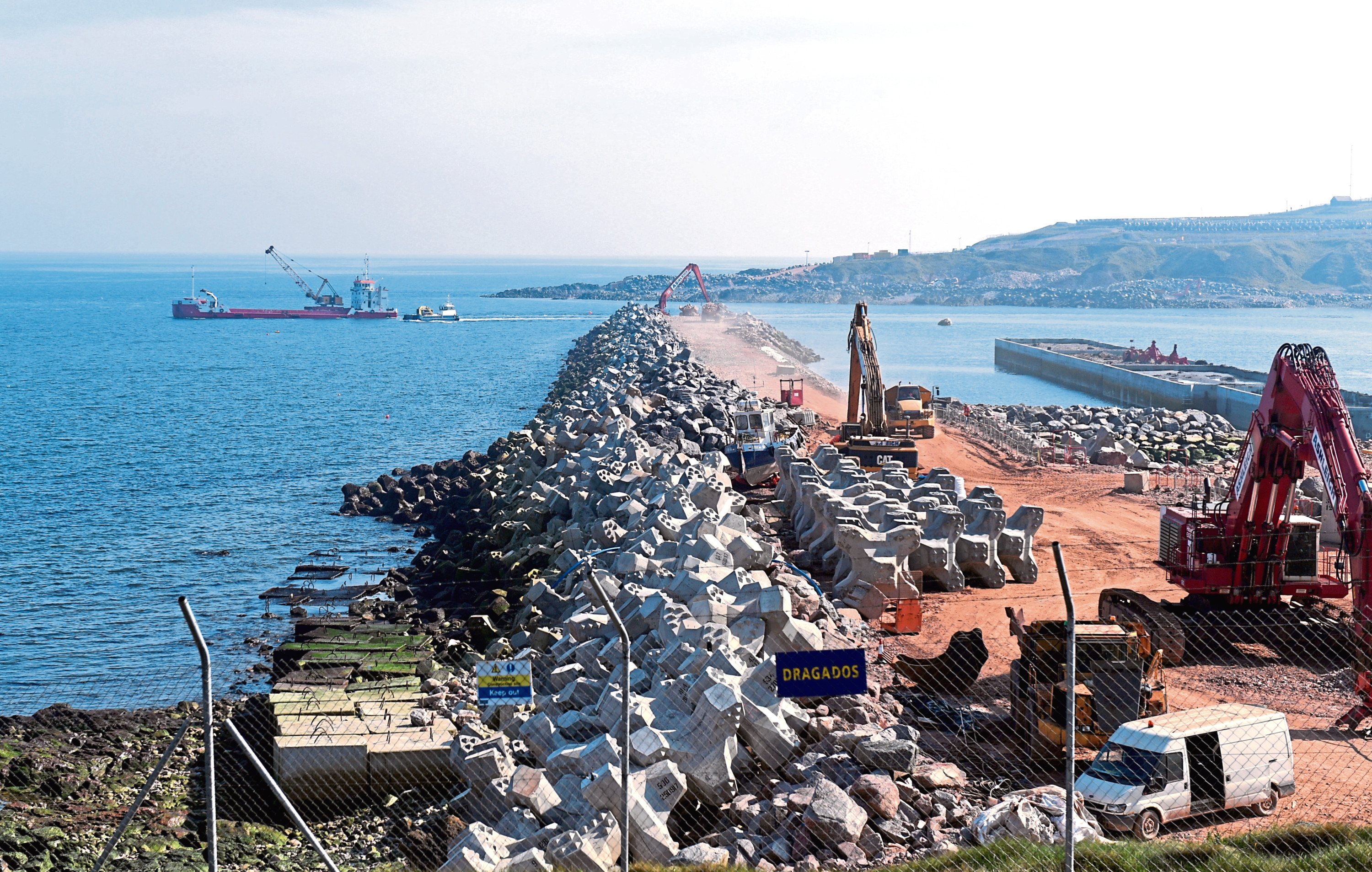 Work to construct the new harbour is ongoing