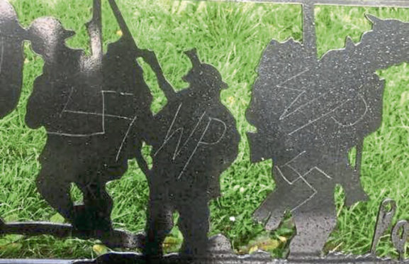 The bench with swastika graffiti. Picture by Aberdeen Guardian