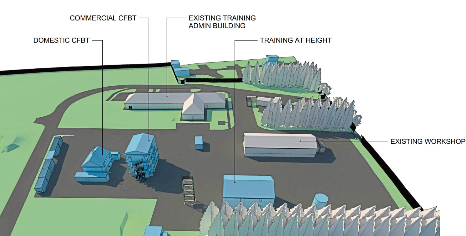 The multi-million-pound plans for the new fire training centre include areas to provide advanced instruction in specialist areas