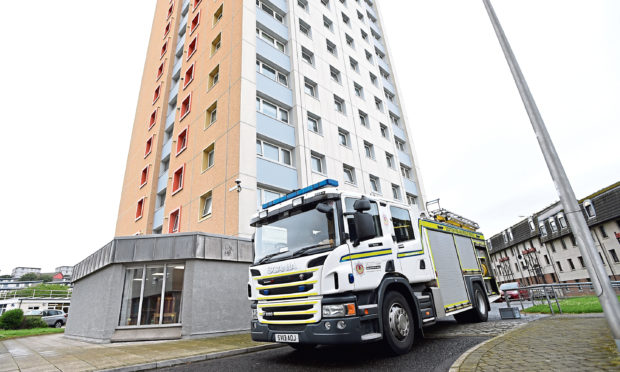A fire engine pictured outside Brimmond Court in Torry
