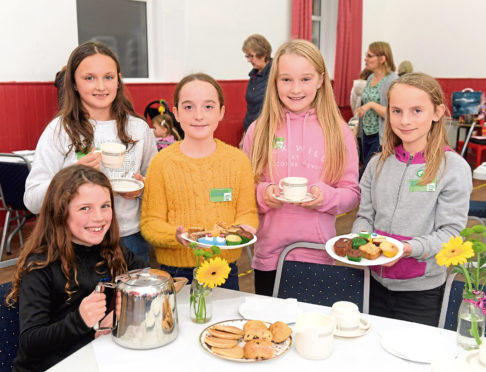 From left, Naomi Clark, Karla Brand, Maisy Trim, Sophie Allan and Sophie Last at the coffee morning