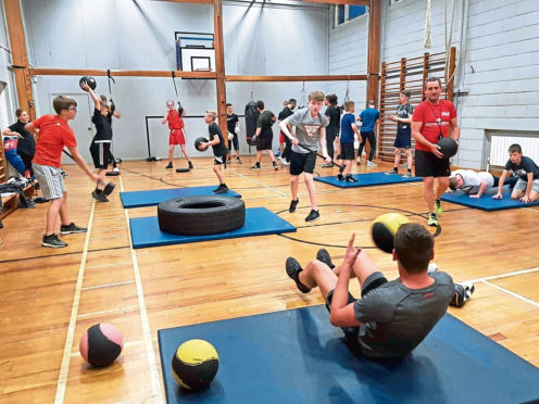 Members of the Inverurie Boxing Club during a training session at Inverurie Academy