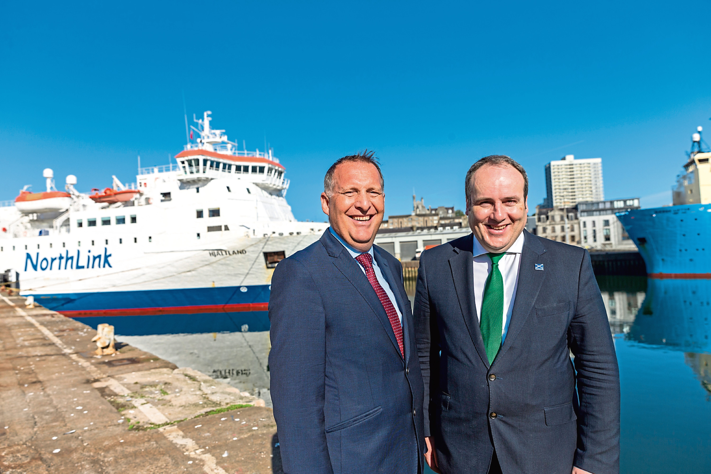 John Whitehurst, managing director transport at Serco UK & Europe with  Minister for Energy, Connectivity and the Islands, Paul Wheelhouse