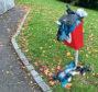 An overflowing dog poo bin