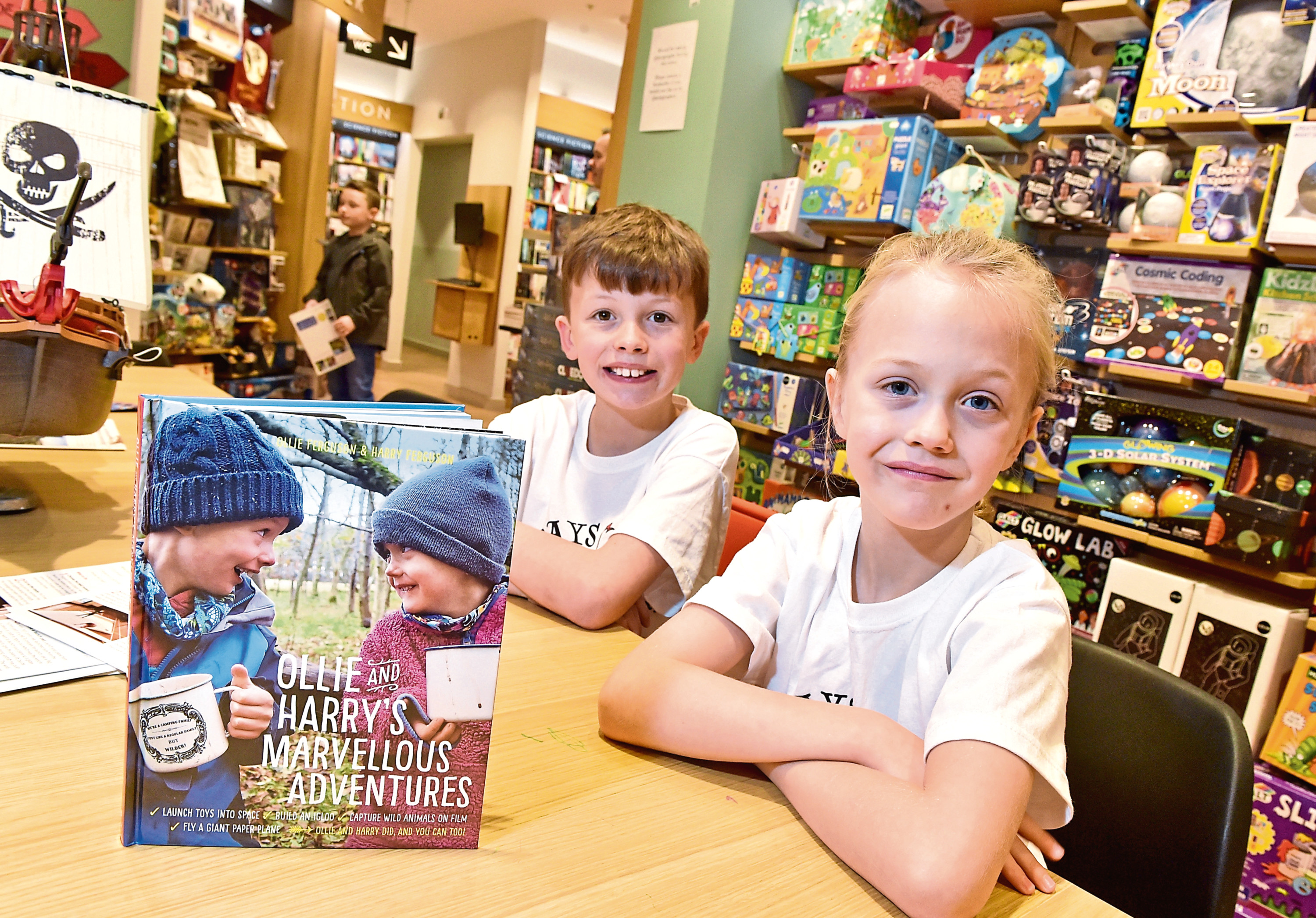 Ollie and Harry Ferguson at their book signing at Waterstones Aberdeen. Picture by Scott Baxter
