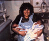 Sylvia Raji with her twins Aisha and Lee who were born in the neo natal unit 11 weeks early