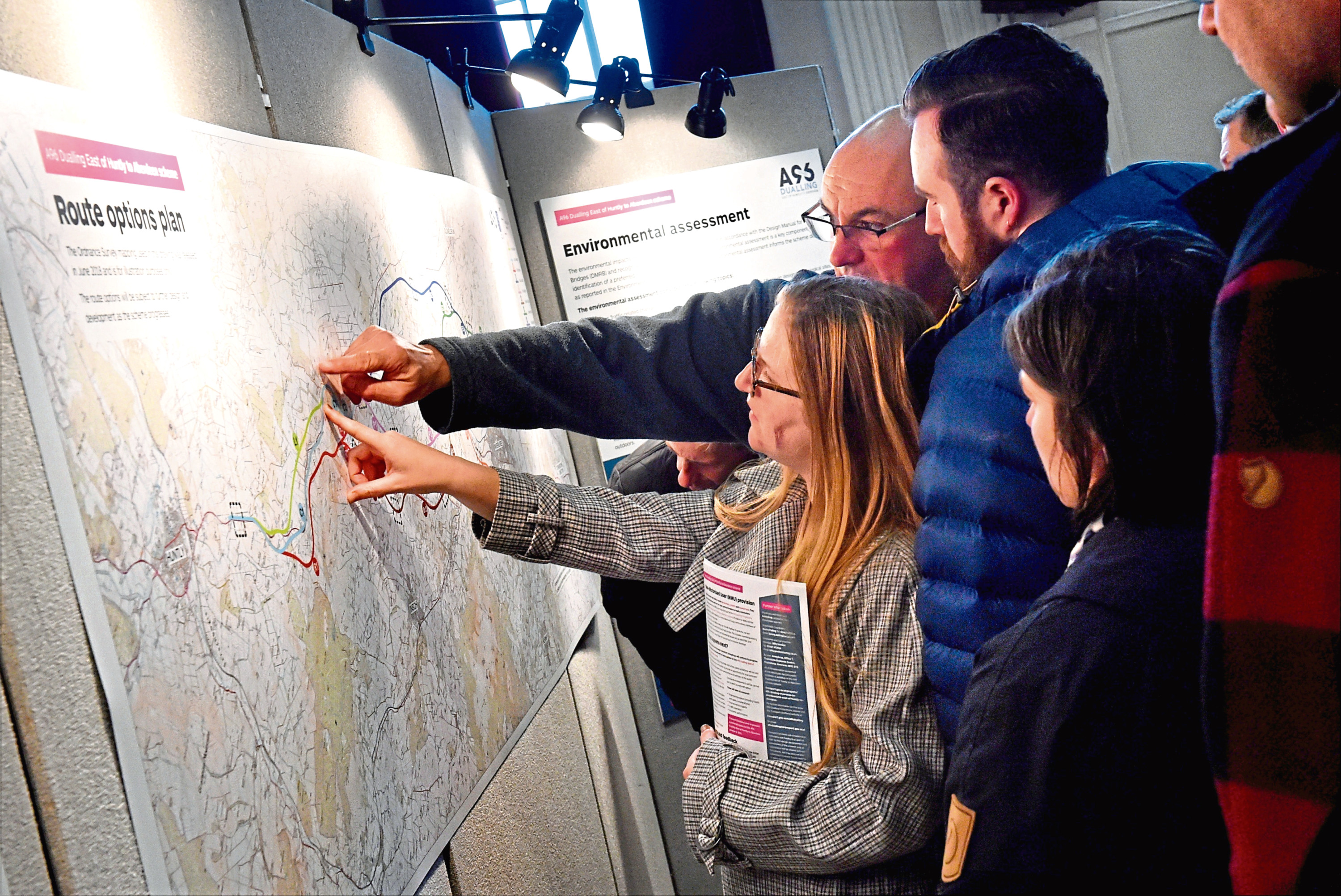 Visitors to a public exhibition held at Inverurie Town Hall detailing the dualling of the A96 East of Huntly to Aberdeen scheme