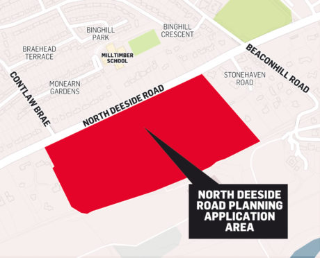 The land south of North Deeside Road where the houses could be built