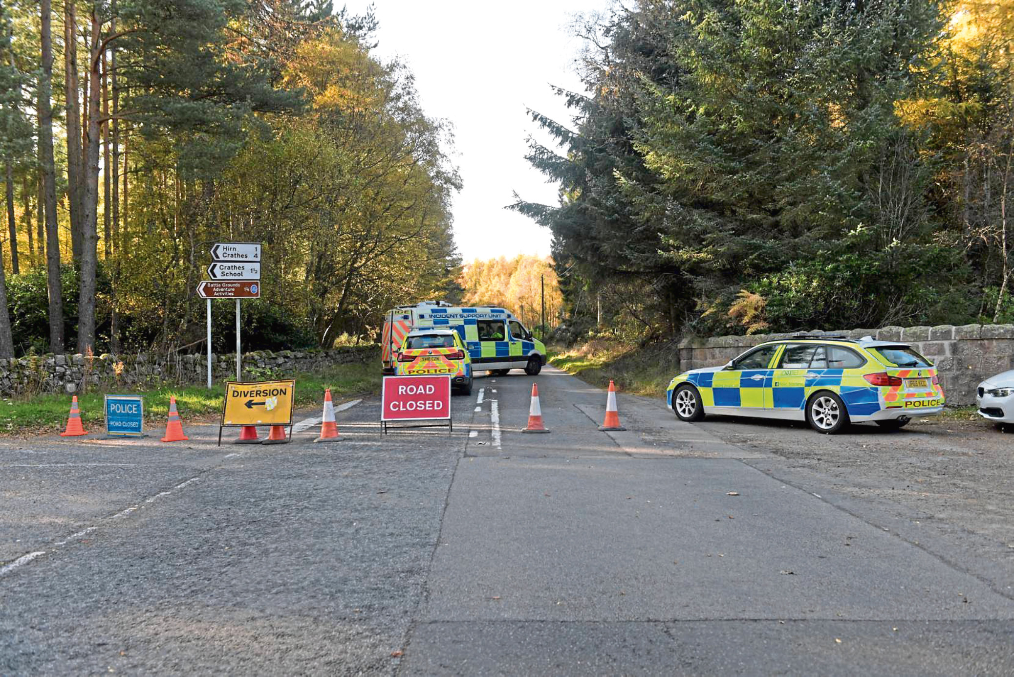 Police at the scene of the collision
