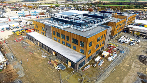 A bird's eye view showcasing the progress made in the construction of the new Inverurie Academy campus. Picture by Hub North Scotland