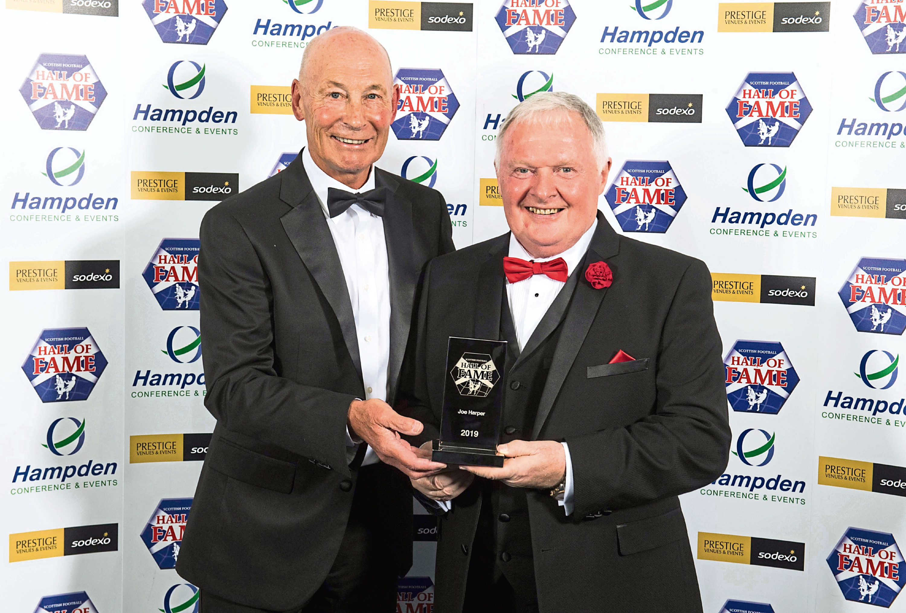 Harper, right, is in the Scottish Football Hall of Fame.