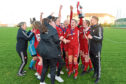 Aberdeen Women being presented with the SWFL Division One North trophy.