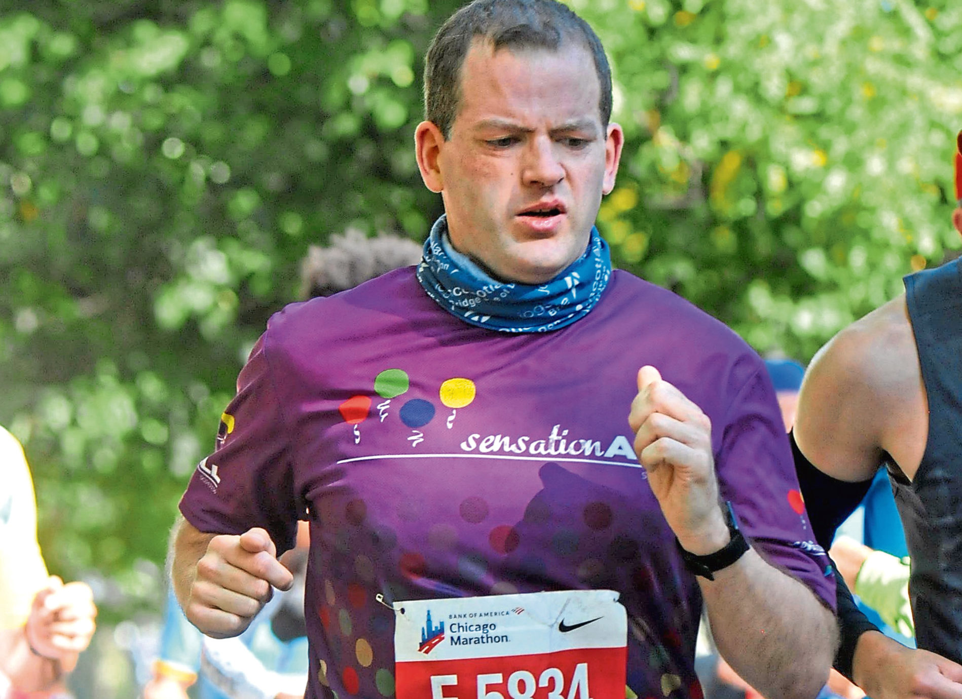 Aberdeen Donside MSP Mark McDonald competing in the Chicago Marathon to raise money for SensationALL