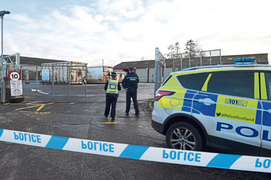 Police at the scene of Keith Recycling Centre.