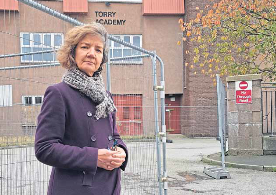 Audrey Nicoll outside Torry Academy